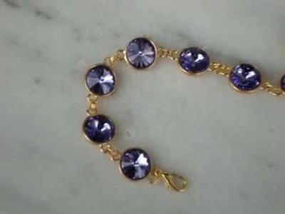 Swarovski crystal  tanzanite rivoli bracelet