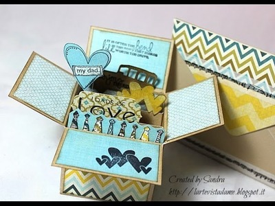 Tutorial Box card con busta (envelope punch board) per la festa del papà - Scrapbooking