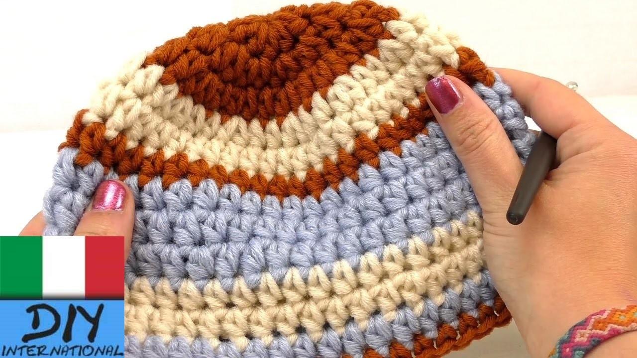 Berretto da bambini Crochet Cappello invernale taglia 40-44 cm Transizione e cambiamento di colore