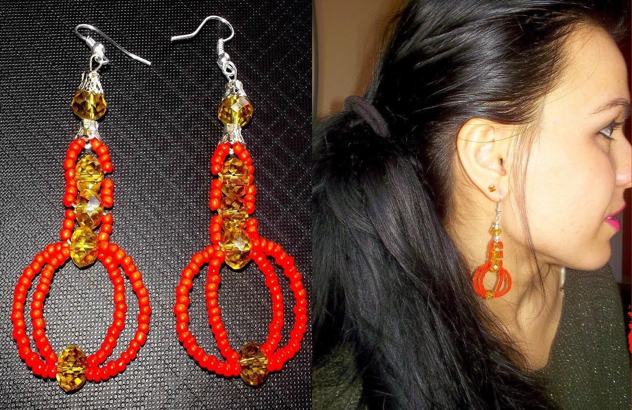 TUTORIAL:Come realizzare orecchini  con perline,cristalli e filo di nylon.HandMadeEarring