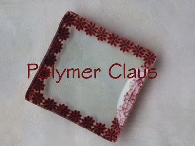 Decorazione su vetro con paste polimeriche: Svuotatasche Natalizio (polymer clay tutorial)