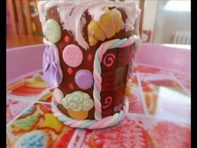 Tutorial: casa pan di zenzero porta candela (tutorial polymer clay)