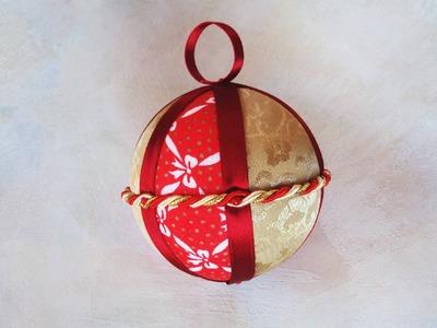 Pallina di Natale tecnica Patchwork con polistirolo e stoffe ( patchwork tutorial )