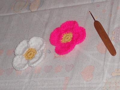 Uncinetto crochet fiore simplice crochet flowers ganchillo flor