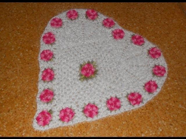 Uncinetto fiore monique tappeto cuore 2° parte Alfombra ganchillo croche tapete Coraçao