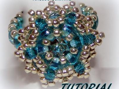 """TUTORIAL ANELLO """"CORINNE"""" con twin ,rocailles, cristalli e chaton Maxima Preciosa"""