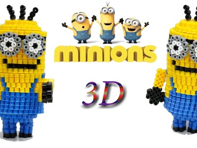 Minion 3D Hama Beads. Pyssla Diy Tutorial