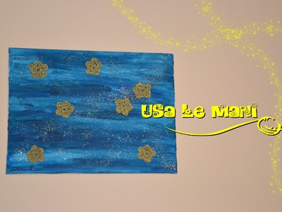 Quadro cielo stellato a uncinetto. starry sky crocheted painting