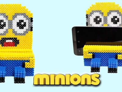 Minion Portacellulare con Hama Beads.Phone Stand Perler Beads