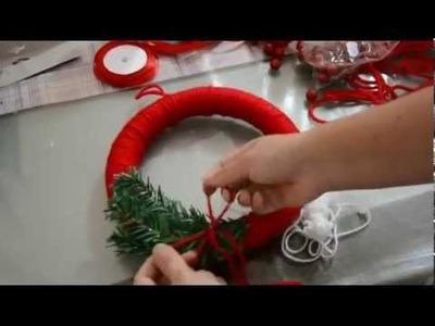 Tutorial ghirlanda di Natale fai da te.  Tutorial Christmas wreath DIY