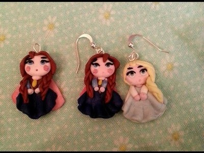 Orecchini Anna e Elsa Frozen. Earrings. Polymer clay. Fimo. Tutorial