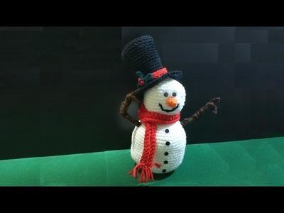 Pupazzo di neve all'uncinetto amigurumi parte I di II - crochet snowman - muñeco de nieve en crochet