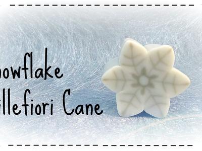 Snowflake millefiori cane - Fimo tutorial murrina fiocco di neve (polymer clay tutorial)