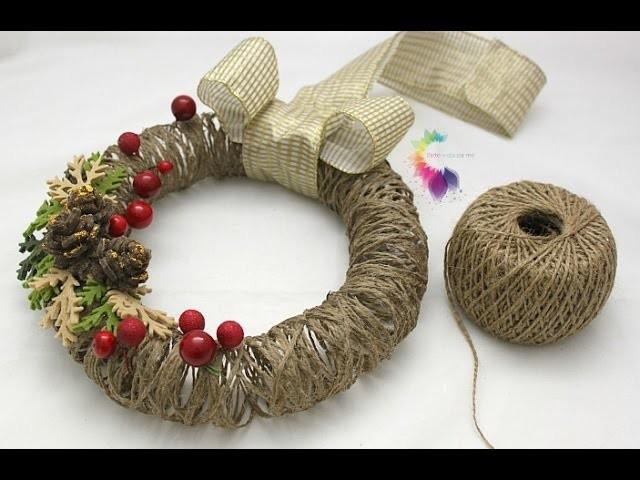 Ghirlanda natalizia fai da te con spago christmas wreath - Decorazioni invernali fai da te ...