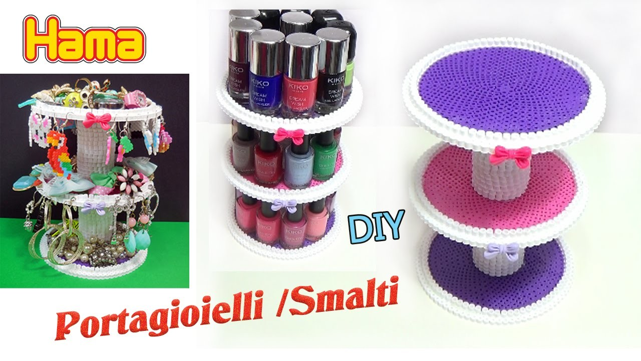 Diy porta smalti gioielli con pyssla hama beads jewelry for Porta smalti fai da te