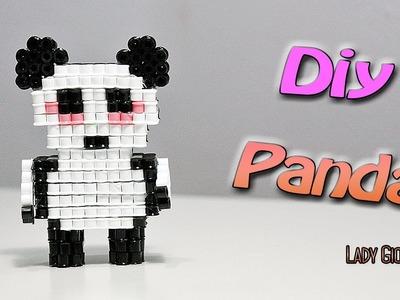 Panda 3D con Hama Beads.How to make Panda Perler Beads ʕ•ᴥ•ʔ