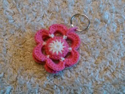 Portachiavi fiore all'uncinetto(crochet flower keychain)