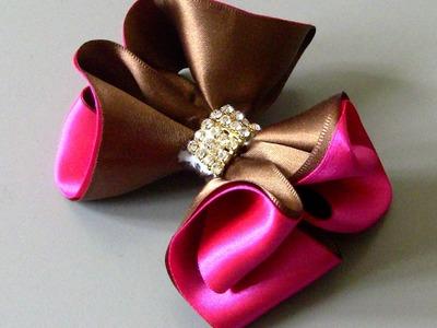 Laço de fitas marron e rosa Passo a Passo-satin ribbon bow