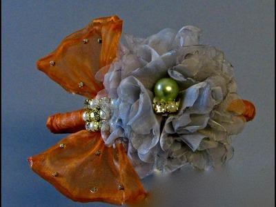 Tiara com Laço e flor de organza e strass Passo a Passo