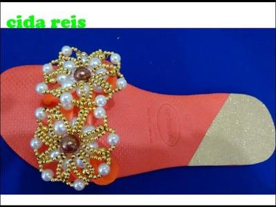 Como costurar a flor turca no chinelo