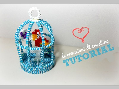 DIY Gabbietta per Uccelli 3D con HAMA BEADS Striped.Perler.Pyssla - Birds Cage Tutorial