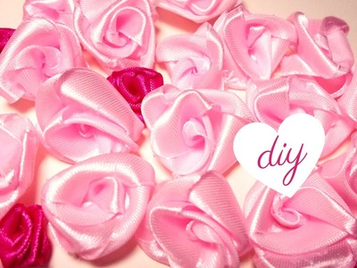 Tutorial ROSE di Raso SENZA Ago e Filo ✂ DIY Fabric Roses NO SEW