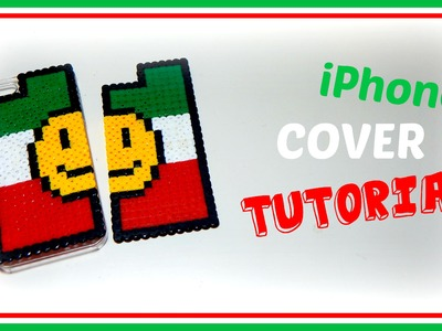 Cover iPhone.Smartphone Italia Tricolore con HAMA BEADS.Perler.Pyssla - DIY Tutorial