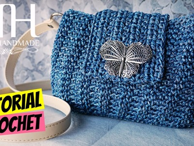 "Tutorial pochette ""Erica"" uncinetto | Punto riso | How to make a crochet bag || Katy Handmade"