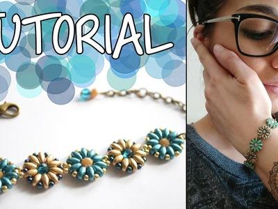 Tutorial Perline per Principianti: Bracciale con fiori di superduo e cipollotti | DIY Beads Bracelet