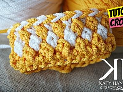 "Tutorial ""Punto Marine"" bicolor uncinetto | Crochet stitches || Katy Handmade"