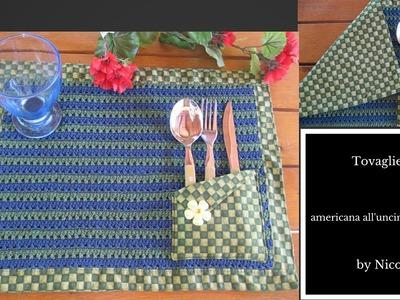 Tutorial-Tovaglietta americana all'uncinetto e stoffa. crochet placemat