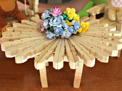 Tavolino con mollette DIY ● How to make a table with Clothespins | World Of Amigurumi