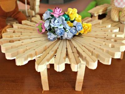 Tavolino con mollette DIY ● How to make a table with Clothespins | World Of Amigurumi