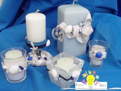 Alzata marina per candela con conchiglie - Tutorial DIY di Creaidee