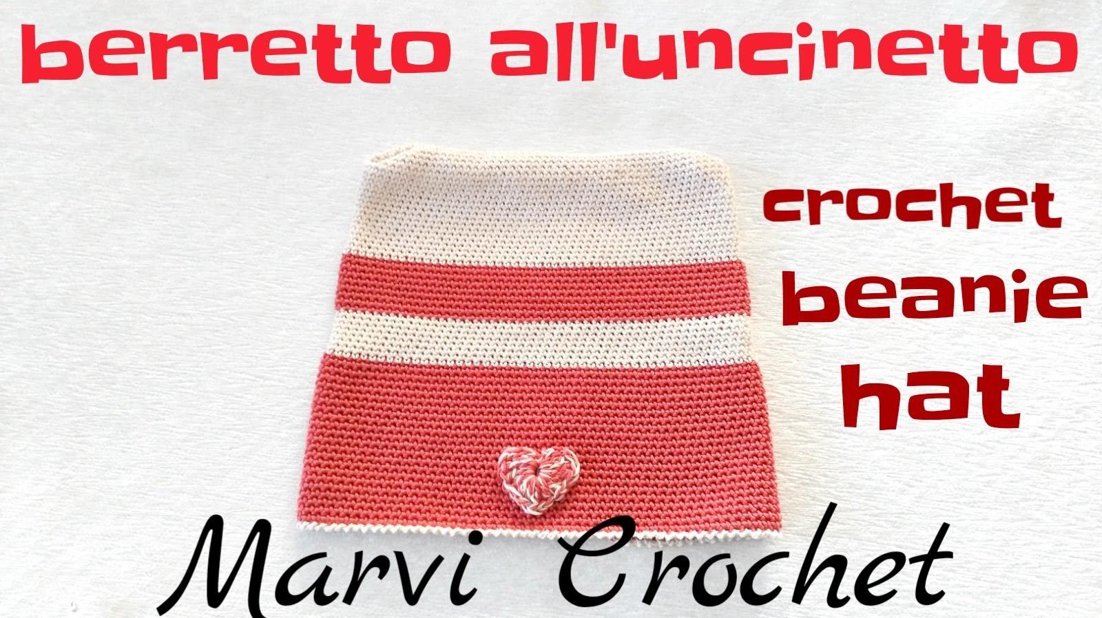 Tutorial berretto cappello all'uncinetto,crochet beanie hat