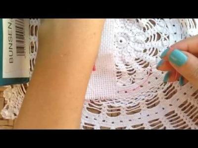 Come ricamare un tratto di tela Aida - How to embroider a little part of Aida cloth
