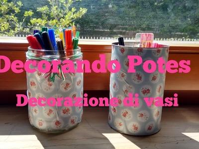 Artesanato - Decorando potes. Decorazione di vasi
