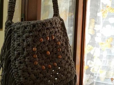 Borsa  con frange uncinetto-crochet bag