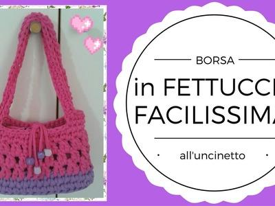 Borsa in Fettuccia FACILISSIMA all'Uncinetto - Crochet a Bag (English subtitles)