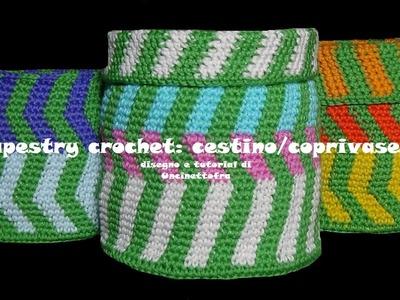 Tapestry crochet: cestino.coprivasetto all'uncinetto
