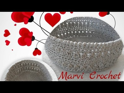 Tutorial cestino,cesto,svuota tasche all'uncinetto.crochet small basket,empty pockets