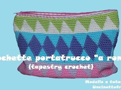"Tapestry crochet: pochette portatrucco  ""a rombi"" (parte 2.2)"