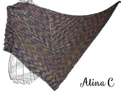 Lilla's tutorials: scialle traforato ai ferri Amami. Amami knitted shawl