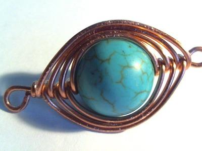 Simple wire wrap copper pendant. Ciondolo semplice