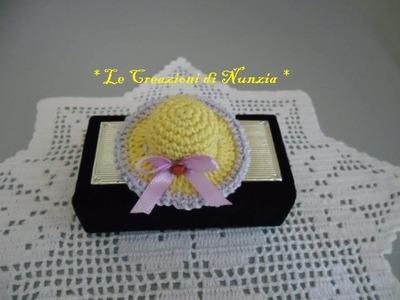 Tutorial mini cappellino a uncinetto per bomboniera. !!!
