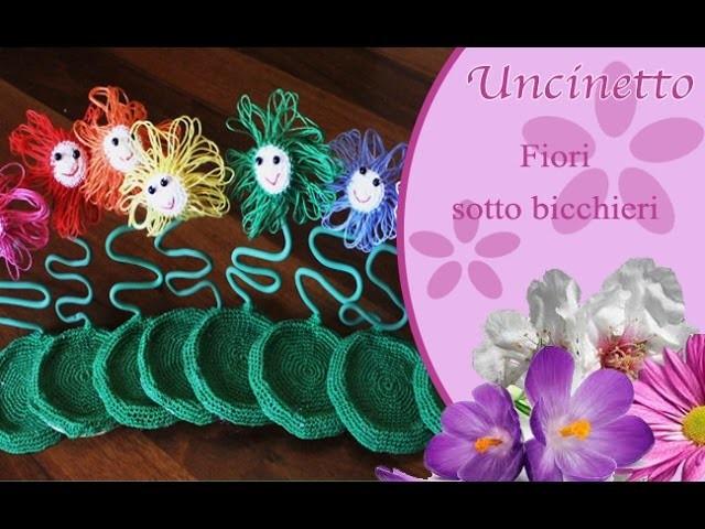 Uncinetto: fiori sottobicchieri
