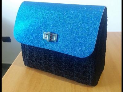 Borsa uncinetto con patella blu lurex 1