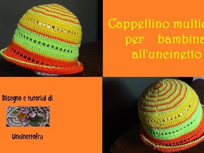Cappellino multicolor per bambina all'uncinetto tutorial