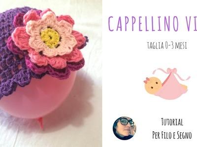Tutorial - Cappellino Viola (0-3- mesi)