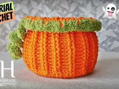 "Tutorial uncinetto cestino ""Pumpkin""   Crochet basket    Katy Handmade"